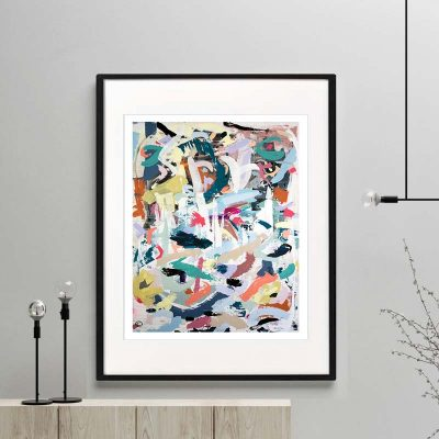 colourful print modern abstract titled when tomorrow comes i framed or unframed by sarah jane australian artist
