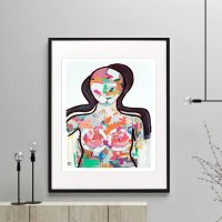 colourful woman fiurative print modern abstract titled love generation i by Australian Artist Sarah Jane framed or unframed