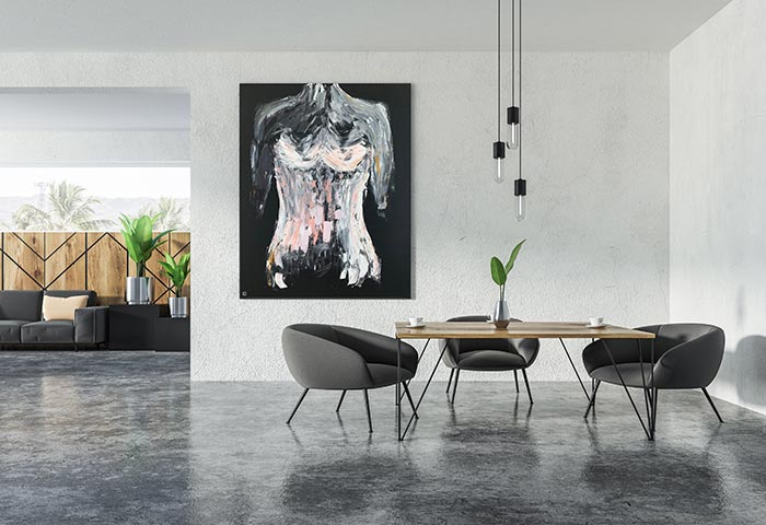 contemporary dining room with lack canvas painting of a woman in pink titled isolation ii - artist sarah jane