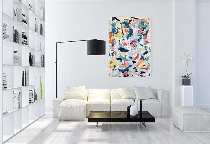 contemporary living room with large happy abstract painting colourful by artist sarah jane titled when tomorrow comes