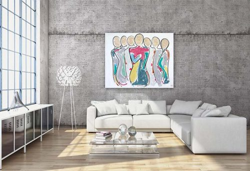 contemporary-lounge-room---figurative-abstract-painting-colourful-family-central-woman---bodyline-bold-ii---sarah-jane-artist