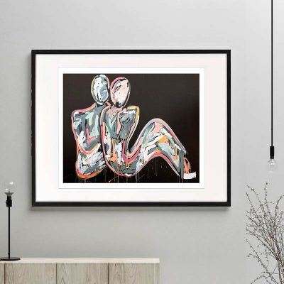 couple bright colours figurative print modern abstract titled lovers crush i by Australian Artist Sarah Jane framed or unframed