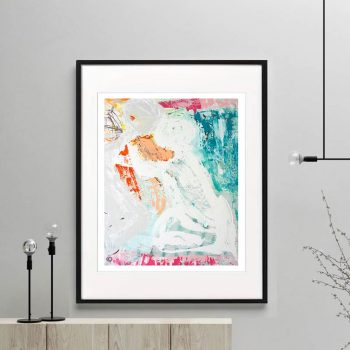 couple figurative print colourful modern abstract titled reaching out i framed or unframed by sarah jane australian artist