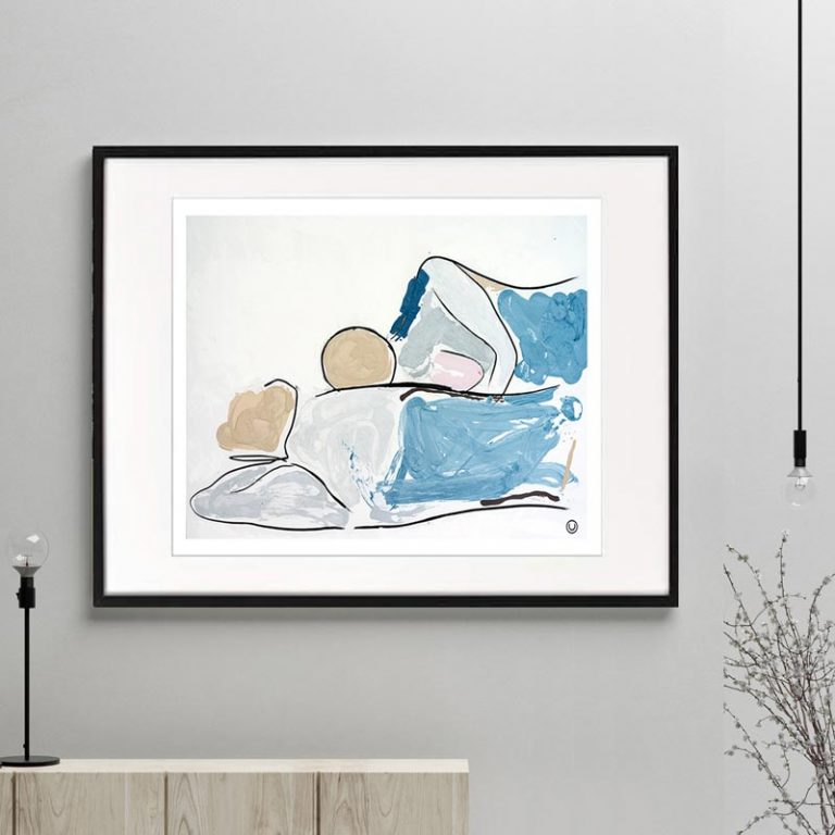 couple lying down figurative print modern abstract titled bodyline vi frame or unframed by sarah jane australian artist