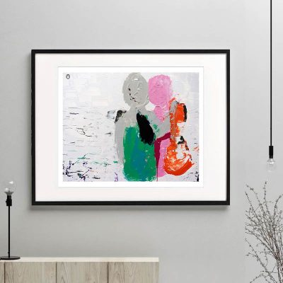 couple print colourful modern abstract titled relax i framed or unframed by sarah jane australian artist