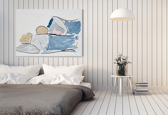 designer bedroom with people painting loving couple titled bodyline vi by sarah jane art