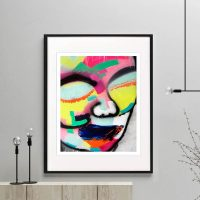 face print bright colours modern abstract titled hidden truth i framed or unframed by sarah jane australian artist