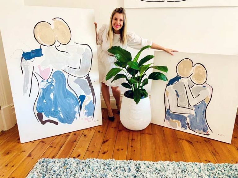 figurative abstract artist sarah jane with bodyline vii and viii original paintings