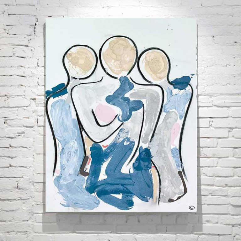 figurative painting abstract mother and kids with soft colours titled bodyine xi by adelaide artist sarah jane