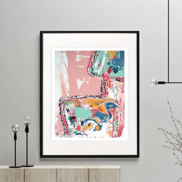 figurative print womans bck colourful modern abstract titled no nonsense by sarah jane artist