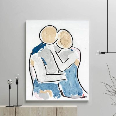 glass art print by sarah jane artist - figurative abstract artwork of a couple facing each other titled bodyline viii