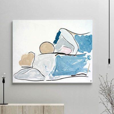 glass art print by sarah jane artist - figurative artwork abstract couple lying down titled bodyline vi