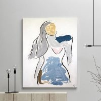 glass art print by sarah jane artist - figurative abstract artwork of a gentle woman titled bodyline v