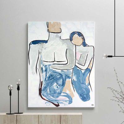 glass art print by sarah jane artist - figurative abstract artwork of a woman cuddling a man titled bodyline iv