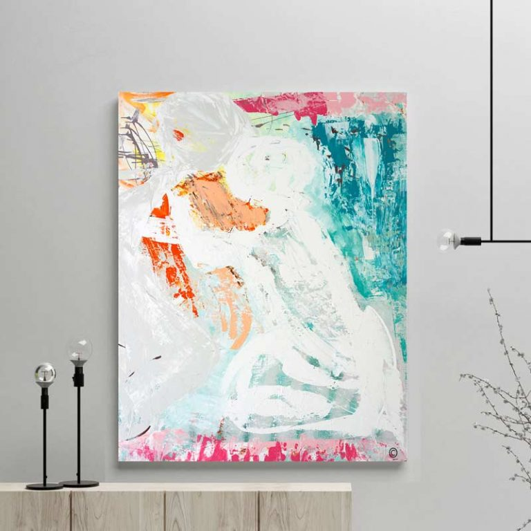 glass art print by sarah jane artist - colourful modern abstract artwork couple embracing titled reaching out i