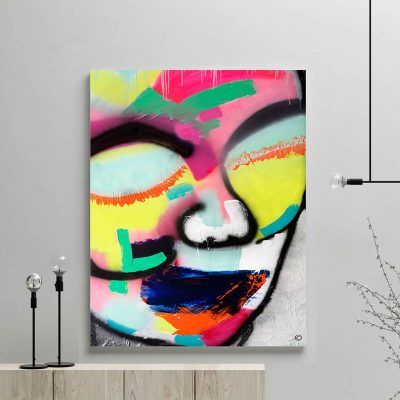 glass art print by sarah jane artist - modern abstract artwork face colourful titled hidden truth i