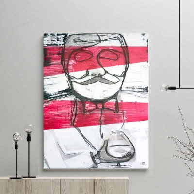 glass art print by sarah jane - modern abstract artwork gentleman drinking whiskey in black red and white title regal i