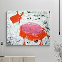 glass art print by sarah jane artist - modern abstract artwork of a goat titled goatey i