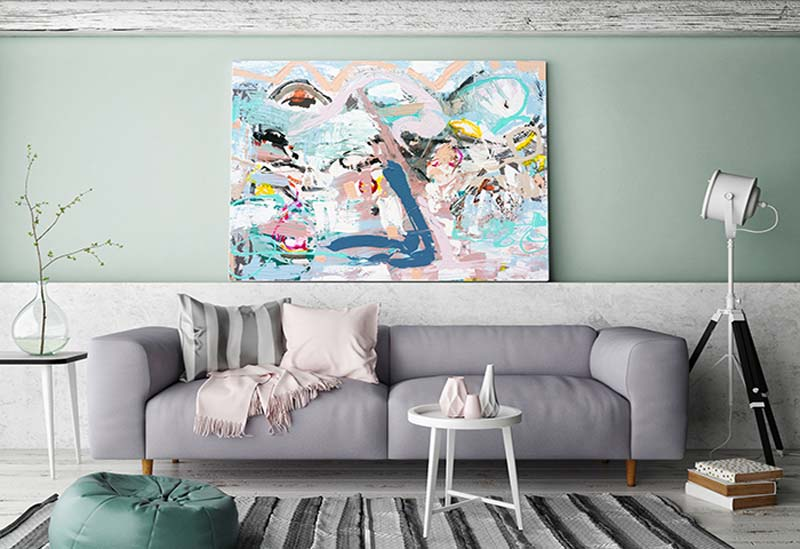 Inviting lounge room with happy fun abstract art in soft colours Titled Like a kid in a candy shop By Sarah Jane Adelaide Artist