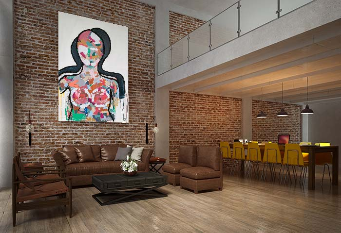 large figurative art by sarah jane titled love generation with bright colours in a modern living room