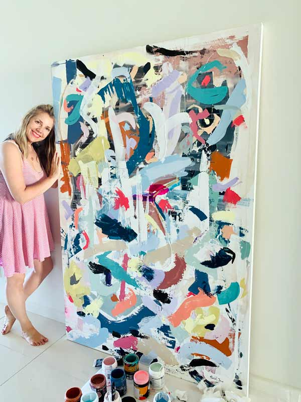 large happy colourful abstract painting titled when tomorrow comes by sarah jane artist