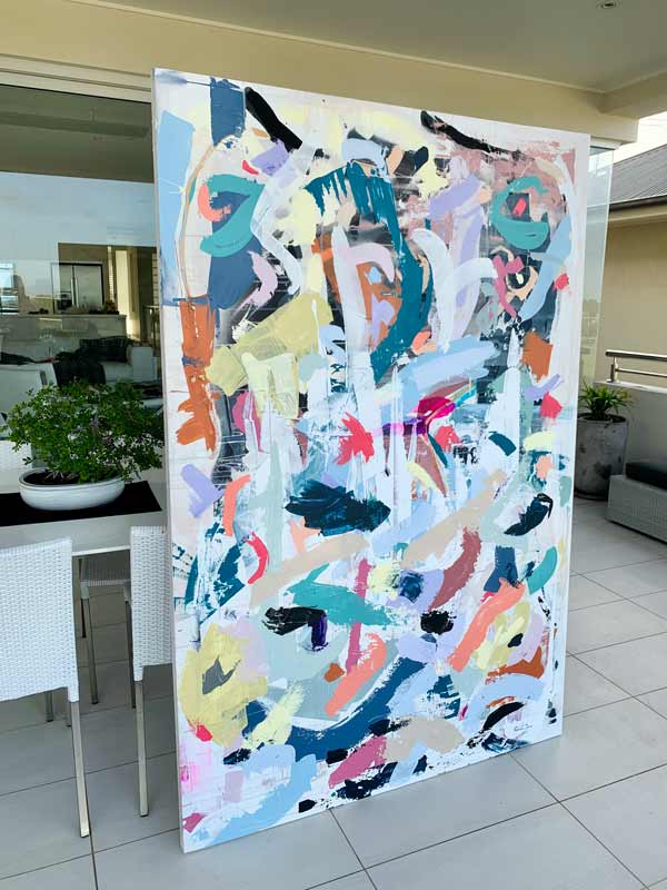 large original painting bright colour abstract by australian artist sarah jane titled when tomorrow comes