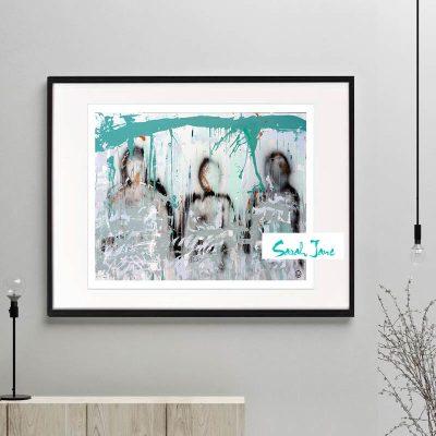 love-abound-I---sarah-jane-signed-modern-fine-art-print---family-of-three---teal-colours--framed-or-unframed