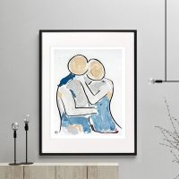 man about to kiss woman figurative print modern abstract titled Bodyline VIII framed or unframed by Sarah Jane Australian Artist