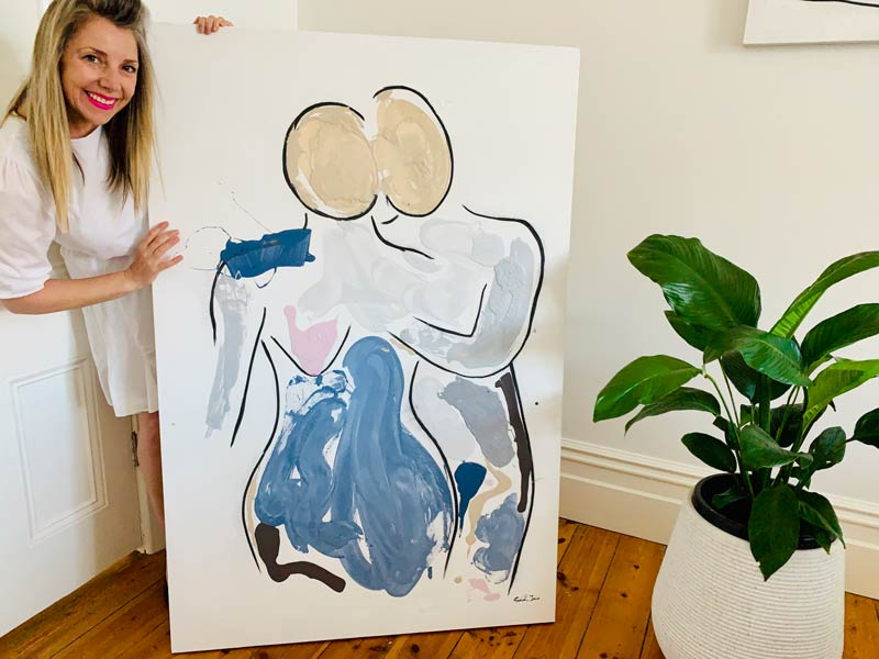 modern abstract art australia - bodyline vii painting of a couple in love by artist sarah jane