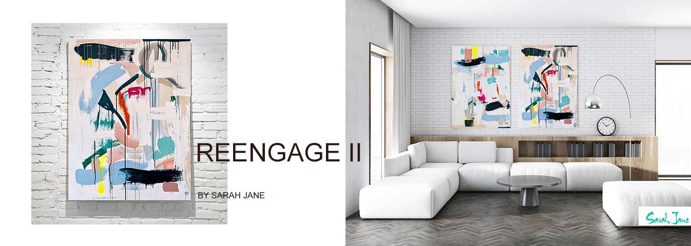 modern abstract art australia - sarah jane artist modern paintings portfolio - reengage i and reengage ii