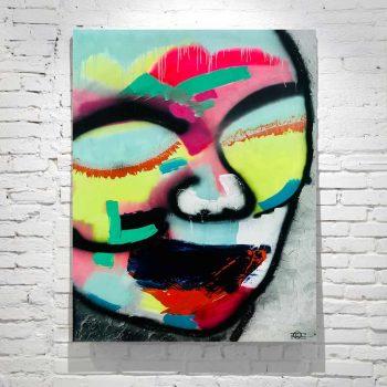 modern abstract painting face bright colours titled hidden truth australian artist sarah jane