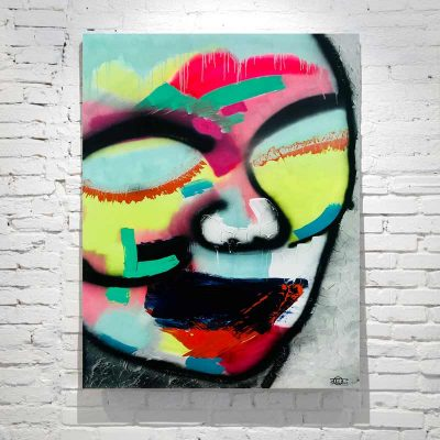 modern abstract painting face bright colours titled hidden truth australian artist sarah jane
