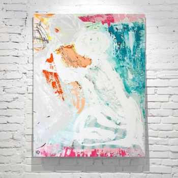 large modern abstract painting woman hugging man - soft colours titled reaching out by australian artist sarah jane