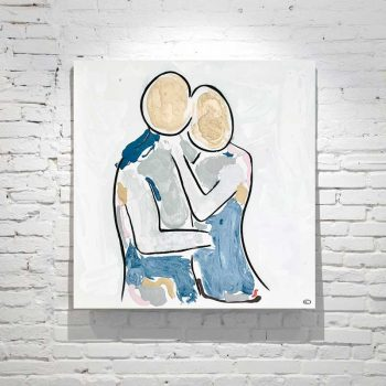 modern abstract painting loving couple facing each other with soft colours titled bodyline viii by adelaide artist sarah jane