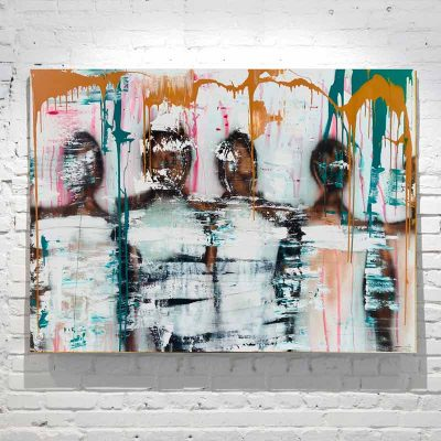 modern abstract painting people standing together - colourful - titled united we stand by artist sarah jane