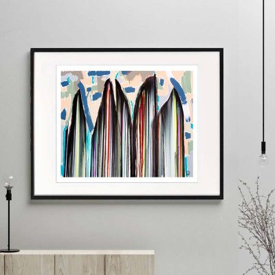 modern art print - rainbow coloured surf boards standing upright in abstract beach