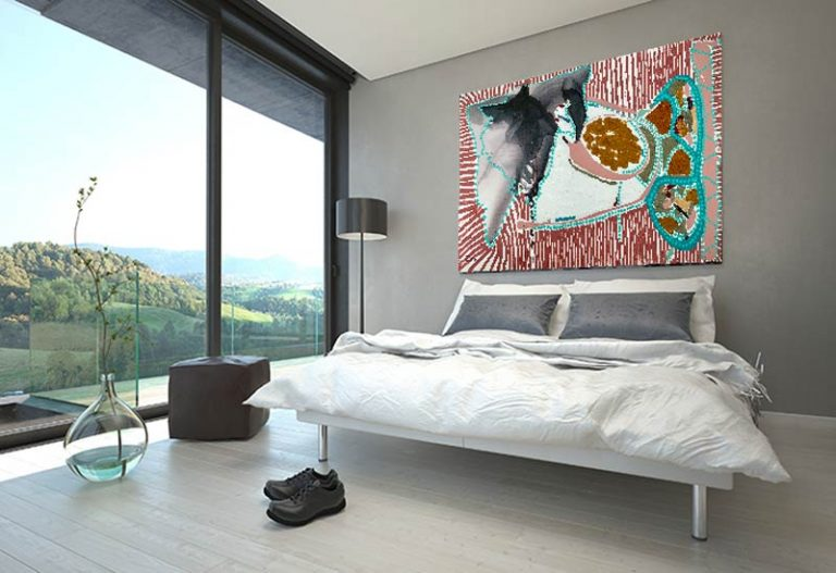 modern bedroom with colourful abstract art of lines and dots titled australiana i by sarah jane australian artist