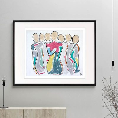 modern family print colourful abstract titled bodyline bold ii by sarah jane australian artist framed or unframed