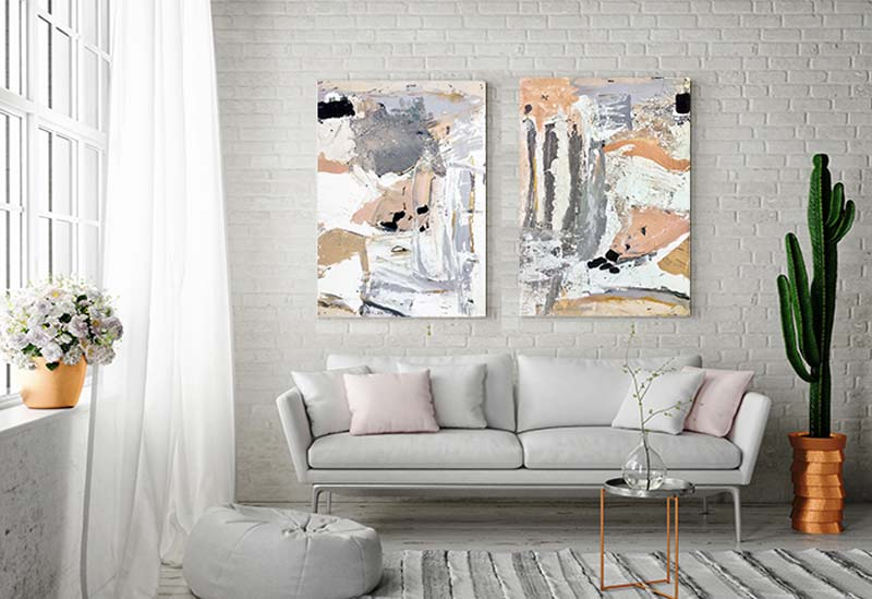 Modern Feminine Lounge Room with Modern Abstract Paintings in Pink and Grey Titled Beautiful Soul and eautiful By Australian Artist Sarah Jane