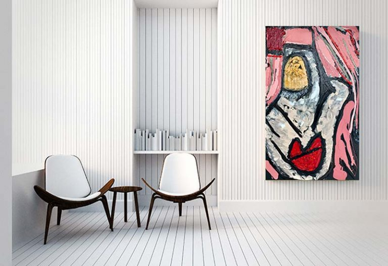 modern space with a trendy modern face painting titled perfect face warm colours - sarah jane art