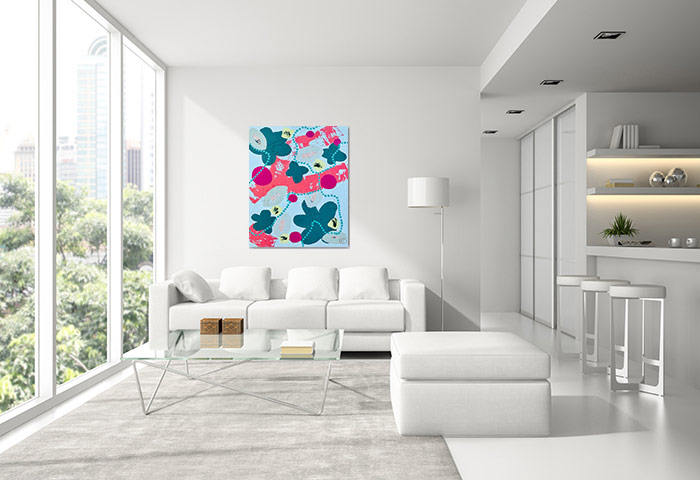 modern white apartment right botanical painting titled pollination ii y australian artist sarah jane