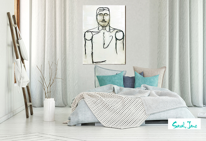 modern white home with line art painting entleman titled linear i by sarah jane artist