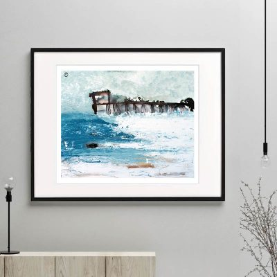 ocean print crashing waves modern abstract titled tsunami i framed or unframed by sarah jane australian artist