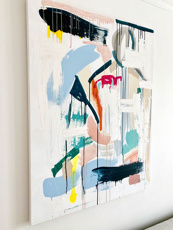 painting colourful abstract - reengage ii by artist sarah jane from australia