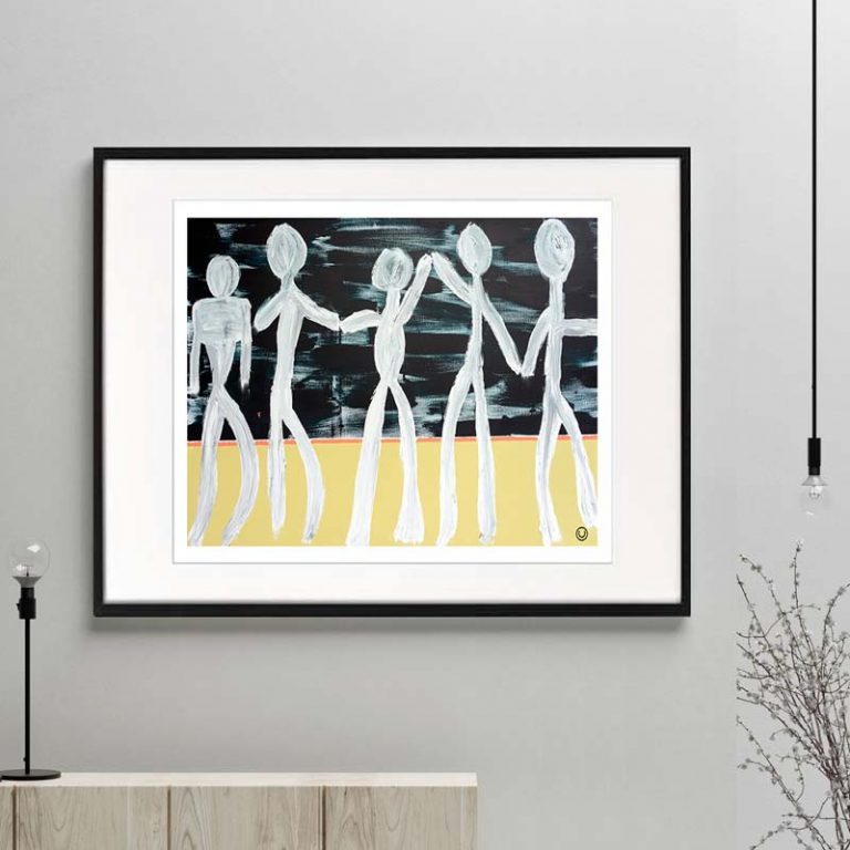 people holding hands figurative print modern abstract titled against the grain i framed or unframed by sarah jane australian artist