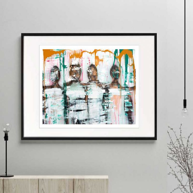 people standing together figurative print modern abstract titld united we stand i framed or unframed by arah jane australian artist