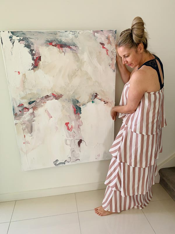 pink white beige abstract painting by sarah jane adelaide artist