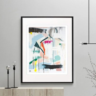 print colourful modern abstract titled reengage iia by sarah jane australian artist framed or unframed