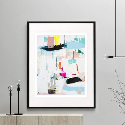 print colourful modern abstract titled reengage ia by saah jane australian artist framed or unframed