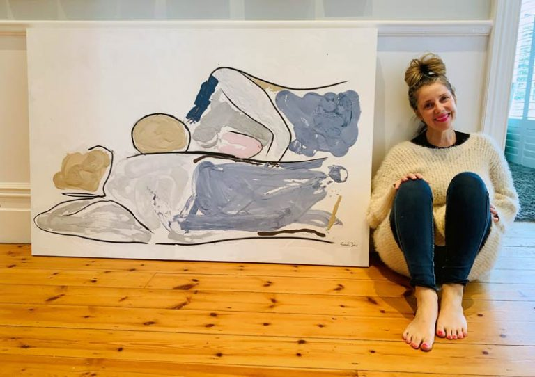 sarah jane artist studio - woman lying on man painting with soft colours titled bodyline vi